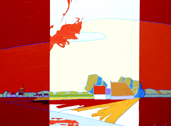 A-634 | Landscape in red, orange and yellow | 80x100